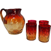 Antique Amberina Thumbprint Pitcher & 4 Glass Set