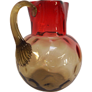 Antique Amberina Creamer Jug in Thumbprint Pattern