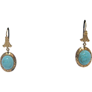 14 K Gold and Natural Turquoise Cabochon Dangle Earrings, circa 1890s