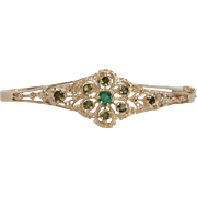 Vintage Emerald and Peridot 14K Gold Bracelet