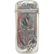 R. Wallace & Sons Sterling Silver and Gilt Match Safe with Brite Cut Floral Decoration