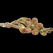 Vintage 10K Gold and Diamond Flower Pendant