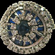 14 K White Gold, Sapphire, and Diamond Ring