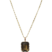 14 K Gold and Topaz Pendant on 14 K Gold Chain, circa 1940s
