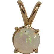 14K Yellow Gold and White Opal Pendant
