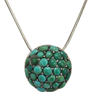 Etruscan Revival Turquoise and Sterling Silver Button Pendant