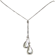 Vintage Italian Sterling Silver, Two Silver Drop Necklace
