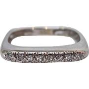 14 K White Gold and Diamond Square Ring