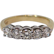 14 K White and Yellow Gold 5 Stone Diamond Ring