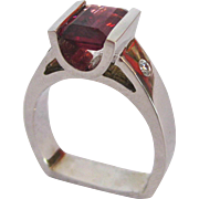 Rhodolite Garnet and Diamond Ring in 14 K White Gold