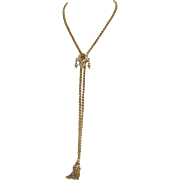 Rare Victorian 18K Gold  Necklace with Naturalistic Slide and Tassle