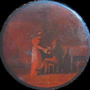 "French Papier Mache Snuff Box ""Le Billet Doux,"" circa 1810"