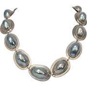 Vintage Sterling Silver Osmena Nautilus Pearl Necklace