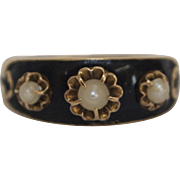 Antique 18K Gold and Pearl Mourning Ring