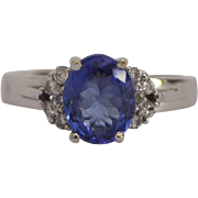 18K White Gold, Tanzanite and Diamond Cluster Ring