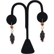 Gorgeous 18K Gold Blackamoor Figure Ebony and Coral Earrings