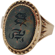 18K Gold and Bloodstone Signet Ring