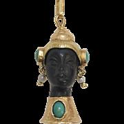 18K Gold, Ebony, Turquoise and Pearl Blackamoor Pendant