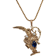 14K Gold Urn Charm with Synthetic Ruby, Sapphires and Pearls.