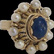 Renaissance Revival Lapis stone and Pearl 14K Gold Ring