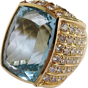 Breathtaking 14K Yellow Gold Aquamarine & Diamond Ring