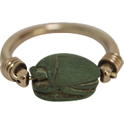 Egyptian Revival Green Scarab 12K Gold Swivel Ring