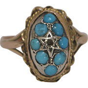 14K Gold Ring with Diamond and Turquoise