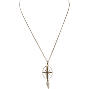 Edwardian 10K Gold Lavaliere with Pearls and Blue Sapphire