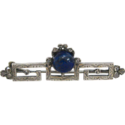 Elegant Georgian Sterling Silver Diamond & Lapis Stone Brooch