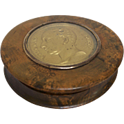 19th Century Karelian Birch Tree Box with Bronze Medallion