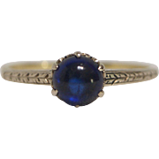 Edwardian White and Yellow 14 Karat Gold Sapphire Ring