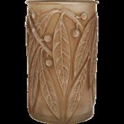 Laurier Bay Leaf Sepia Patina René Lalique Glass Vase