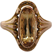 1890's Citrine 14K Gold Ring