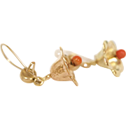 14 Kt Gold and Coral Flower Drop Earrings