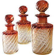 SALE PENDING Baccarat Amberina Rose Tiente Glass Scent Bottles, Set of 3