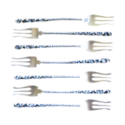 Set of 7 Whiting  Reverse Twist # 8 Pattern Sterling Silver Seafood or Cocktail Forks, circa .