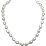 "17 1/2"" Single Strand of White Baroque Tahitian Cultured Pearls with Sterling Silver Clas"