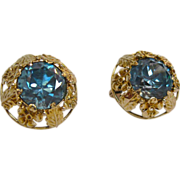 Sparkling Brilliant Cut Blue Zircon Art Deco Earrings
