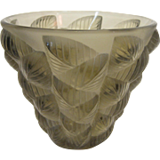 R. Lalique Mosaic Clear and Frosted Topaz Colored Glass Vase, circa 1927