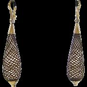 Victorian 10 K Gold Woven Hair Dangle Earrings