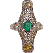 Edwardian Platinum, Fancy Diamond, and Emerald Ring