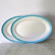 SALE 2 Large Turquoise and White Jackson China Oval Serving Plates
