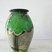 SALE Signed Art Glass Vase Tree Motif by Bendzunas