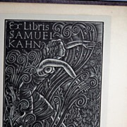 SALE Semi Nude Woman Woodblock bookplate Ex Libris Eric Gill