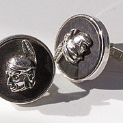 SALE Swank American Indian Head Cuff Links