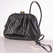 SALE Vintage Etra Black Leather Shoulder Bag Purse~Mint