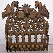 SALE Rare Antique Bench Style Brass Oil Menorah