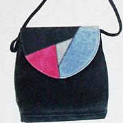 SALE Black Suede Shoulder Bag Tri-Color Flap