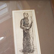SALE Signed Original Etching Maid Marian