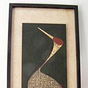 SALE Kaoru Kawano Sacred Crane c 1950 Wood Cut